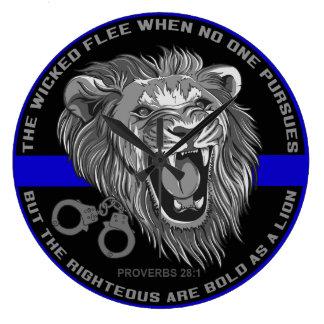Mutig als Löwe-dünne Blue Line-Uhr Große Wanduhr