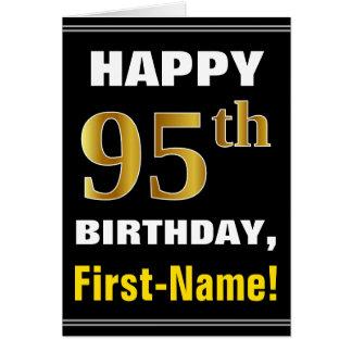 Mutig, schwarz, Imitat-Gold95. Geburtstag mit Karte