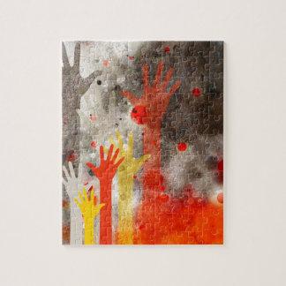 Mutig u. Chic übergibt den roten abstrakten Puzzle