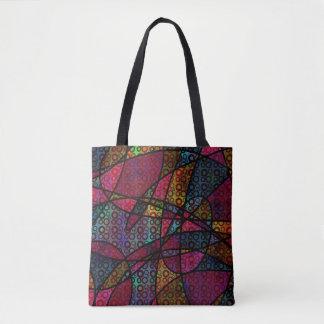 Mutige abstrakte Kunst mit Kreisen u. schwarzen Tasche