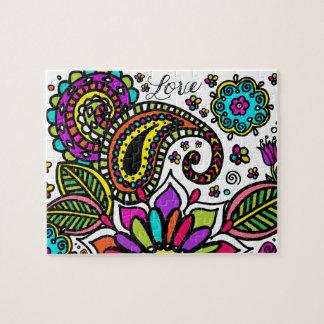 Mutige bunte Blumen-Liebe Paisley scherzt Puzzle