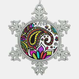 Mutige bunte Blumen-Liebe Paisley scherzt Zinn Schneeflocken Zinn-Ornament