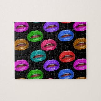 Mutige bunte Pouty Lippenstift-Lippen Puzzle