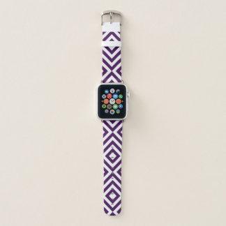 Mutige geometrische lila und weiße Sparren, Apple Watch Armband