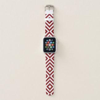 Mutige geometrische rote und weiße Sparren, Apple Watch Armband