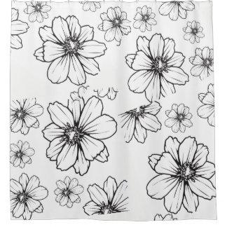 Mutige grafische Schwarzweiss-Blumen Duschvorhang