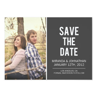 Mutige graue Foto-Save the Date Mitteilungen 12,7 X 17,8 Cm Einladungskarte