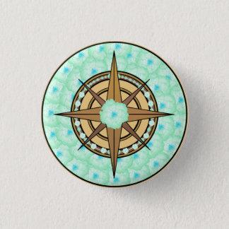 Mutige Kompass-Rose (Aqua) Runder Button 3,2 Cm