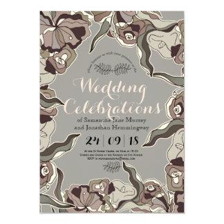 Mutige Linie Blumenfrühlings-Hochzeits-Karte 12,7 X 17,8 Cm Einladungskarte
