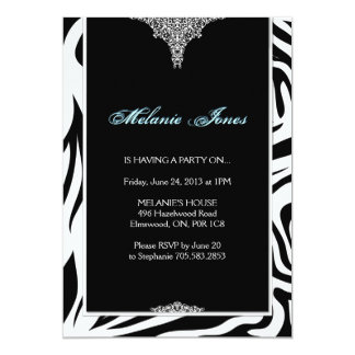 Mutige moderne Zebra-Druck-Geburtstags-Party 12,7 X 17,8 Cm Einladungskarte