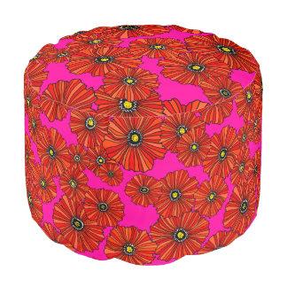 Mutige Mohnblumen Pink und roter BlumenOsmanepuff Hocker