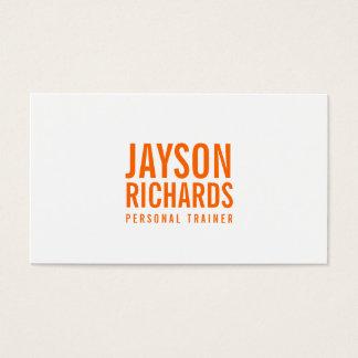 Mutige orange/weiße persönliche visitenkarten