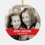 Mutige rotes und weißes Weihnachtsverzierung Rundes Keramik Ornament
