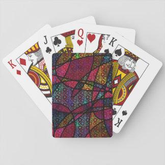 Mutige schwarze Linien u. mehrfarbige, abstrakte Spielkarten
