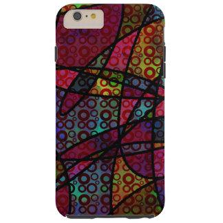 Mutige schwarze Linien u. mehrfarbige, abstrakte Tough iPhone 6 Plus Hülle