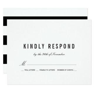 Mutige schwarze Streifen, die UAWG Wedding sind 10,8 X 14 Cm Einladungskarte