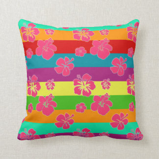 Mutige tropische Farben mit Hibiskus Kissen