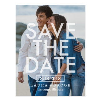 Mutige Überlagerungs-Save the Date Postkarte