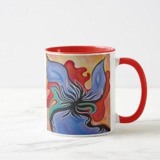 Mutige und helle abstrakte Blumen-Tasse Tasse