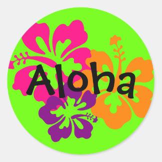 Mutige und helle hawaiische Blumen Runder Aufkleber