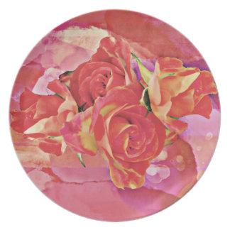 Mutige vibrierende Watercolor-Rosen im Rosa und in Teller