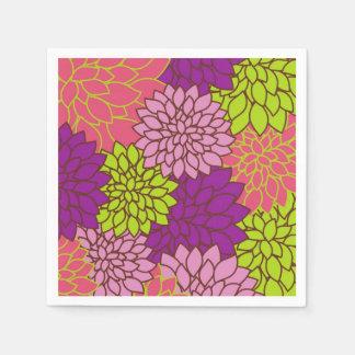 Mutiger Blumenentwurf in Limonem Grünem, rosa, Serviette