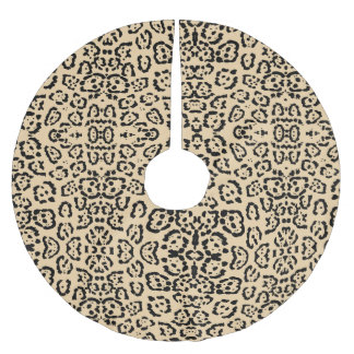 Mutiger Kaffee-Leopard-Tierkatzen-Druck Brown Polyester Weihnachtsbaumdecke