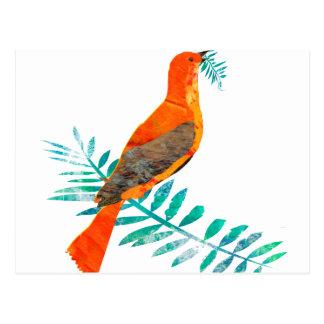 Mutiger roter Weihnachtsfriedensrot-Vogel Postkarte