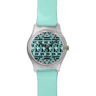 Mutiger Stammes- Türkis Uhr