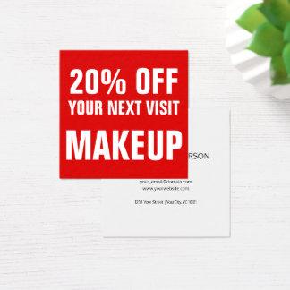 Mutiger Text-roter und weißer Make-uprabatt-Kupon Quadratische Visitenkarte