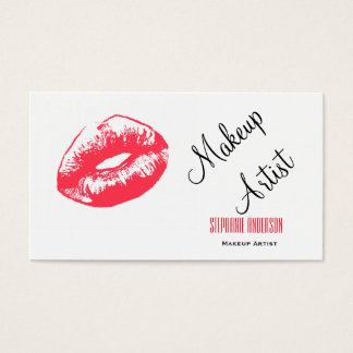 Mutiger und eleganter roter LippenMaskenbildner Visitenkarte