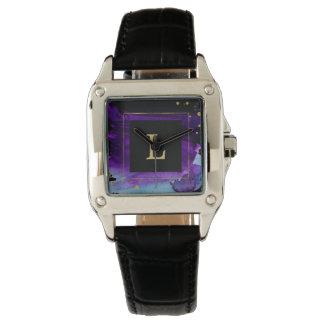 Mutiges Aquarell-Spritzen mit Monogramm Uhr