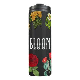 Mutiges Blumenmuster auf Schwarzem Thermosbecher