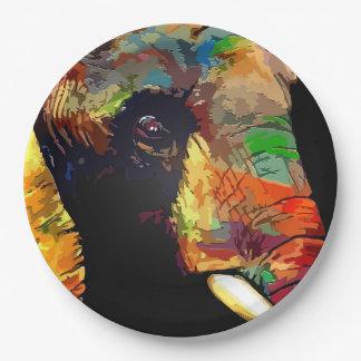 Mutiges buntes Elefant-Kopf-Porträt Pappteller