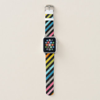 Mutiges buntes Streifen-Muster Apple Watch Armband
