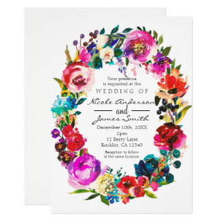 Mutiges FarbAquarell-BlumenKranz-Hochzeit Karte