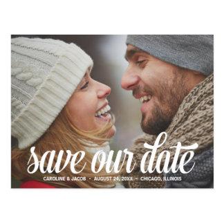 Mutiges Foto des Skript- Save the Date