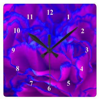Mutiges Fuschia rosa und blaue Gartennelken-Blume Quadratische Wanduhr