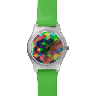 Mutiges geometrisches Würfel-Muster Armbanduhr
