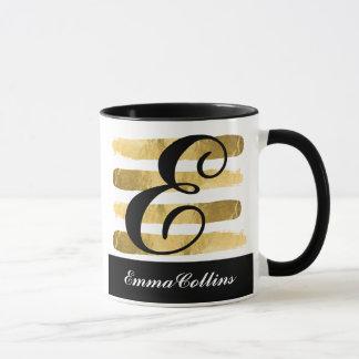 Mutiges Gold und schwarze Monogramm-Kaffee-Tasse Tasse