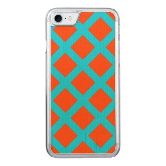Mutiges Orangen-und Türkis-Blau-Quadrat-Muster Carved iPhone 7 Hülle
