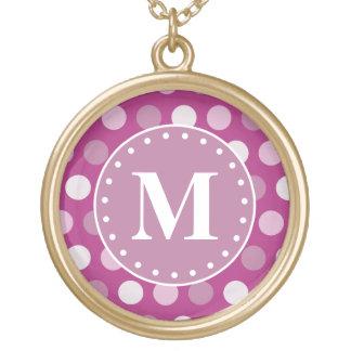 Mutiges rosa lila Polka-Punkt-Monogramm Vergoldete Kette