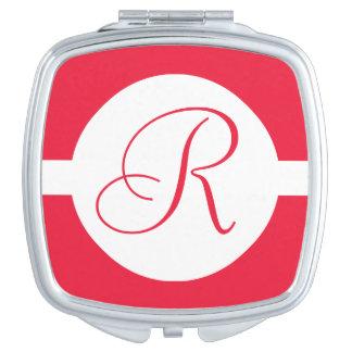 Mutiges rotes Kreis-Monogramm Taschenspiegel