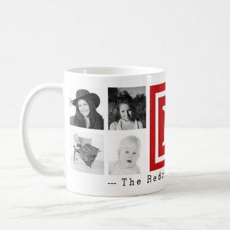 Mutiges rotes Monogramm mit der Collage mit 8 Kaffeetasse