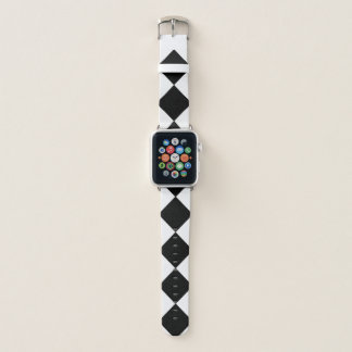 Mutiges Schwarzweiss-Diamant-Muster Apple Watch Armband