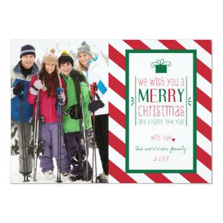 Mutiges Streifen-frohe Weihnacht-Foto-flache Karte Einladungskarten