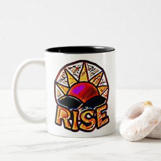 Mutiges Sun-Aufstieg ~ emporhebende Mitteilung Zweifarbige Tasse