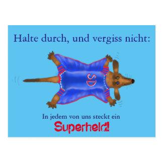 Mutmach-Karte mit süßem Superhelden (Super Dackel) Postkarten