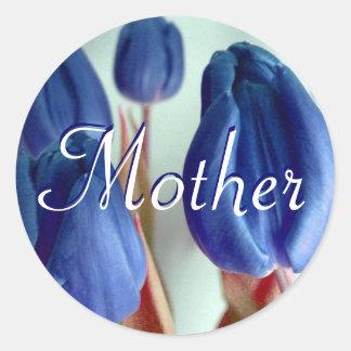 Mutter-blaue Tulpe-Aufkleber Runder Aufkleber