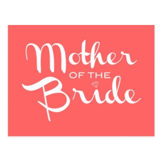 Mutter Braut-des Retro Skript-Weiß auf Pfirsich Postkarte